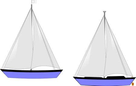 anchored: sailboats on white vector Illustration