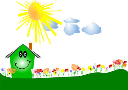 rolling hills: flowers in row with green house Illustration