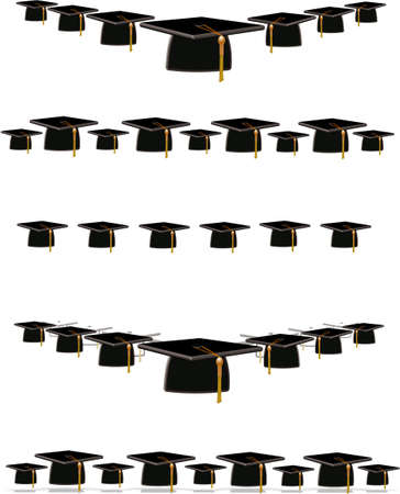 scalable: grad mortar boards on white