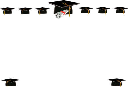 simple border: mortar board frame for grads