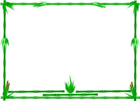 overlapped: bamboo frame on white