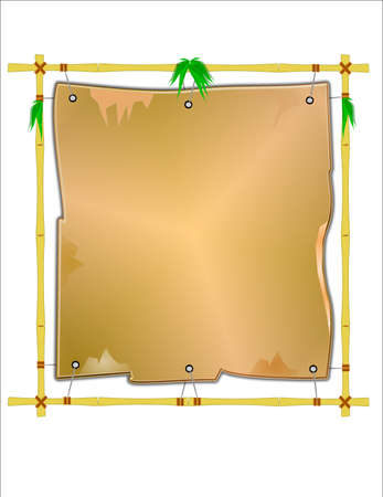 yellow bamboo frame with canvas  Stock Photo