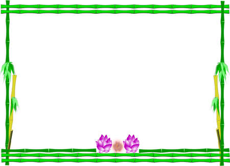 lotus flowers in bamboo frame on white vector