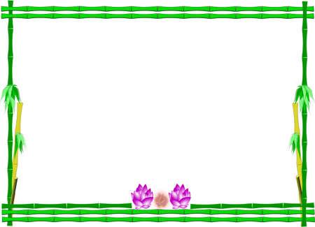 lotus flowers in bamboo frame on white vector Vector