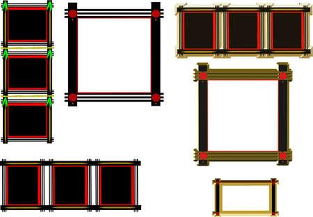 oriental black frames on white in 3d 일러스트