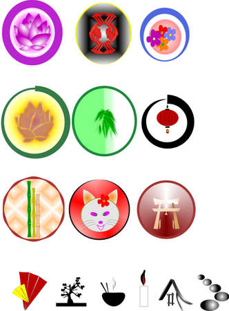 oriental icon buttons Stock Vector - 9669206