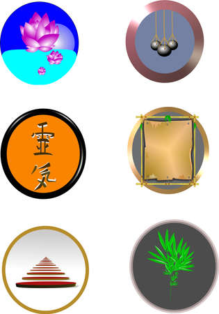 chinese buttons on white in 3d Stock Photo - 9669205