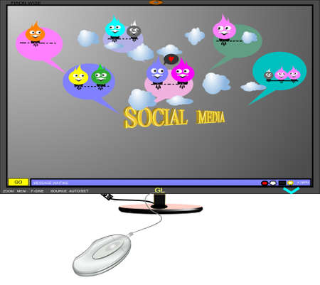 social outcast: monitor in 3d with social media chat balloons