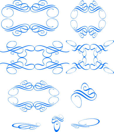 at the edge of: blue decorative swirls elements Illustration