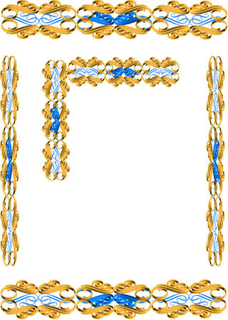 3d gold and blue frame on white vector Stok Fotoğraf - 9669214