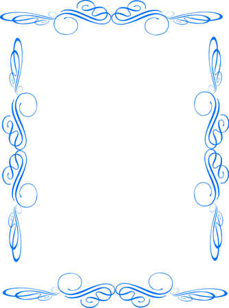 abstract flowers: single level swirl frame in blue on white