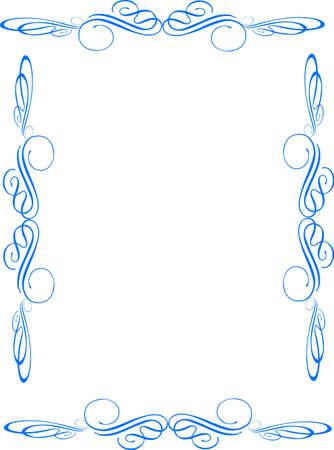 single level swirl frame in blue on white