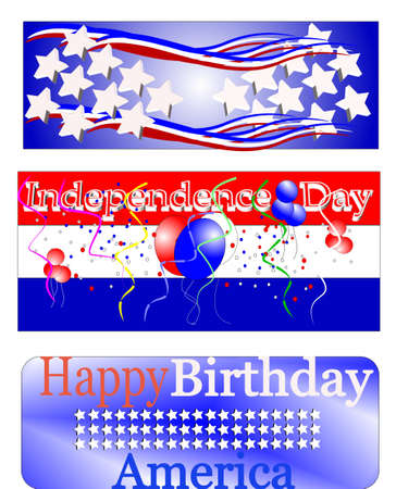 happy birthday america banners 向量圖像
