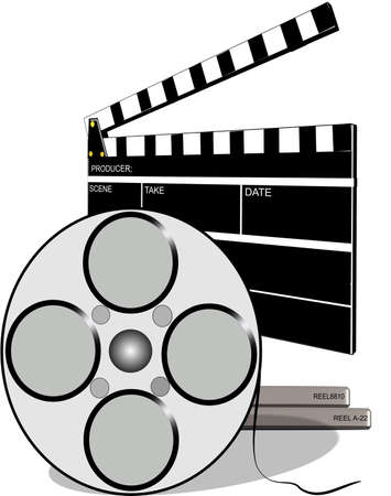 negatives: clapboard for movies with film canister and movie reels Stock Photo