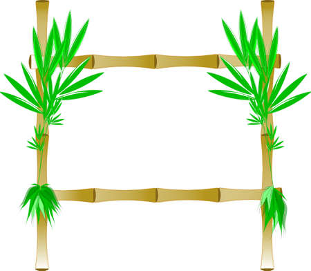 yellow bamboo frame with leaves on sides
