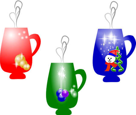christmas mugs on white with themes photo