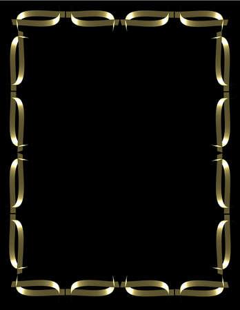 Cadre de feuille d'or sur balck Banque d'images - 9740161