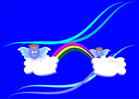 cute angels on clouds with rainbow Stock Vector - 9740185