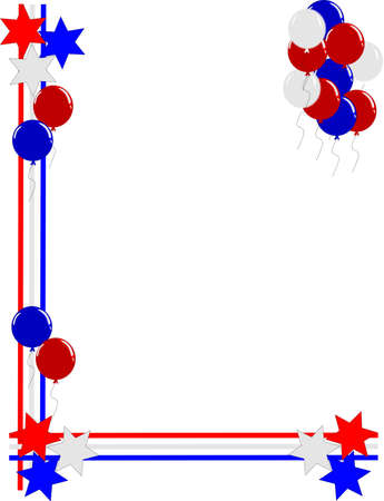 entertwined lines with balloons and stars frame for july4th