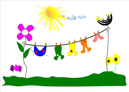 babys laundry day with sun and flowers Vector