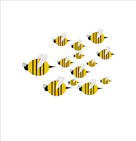 enjambre de abejas en vuelo