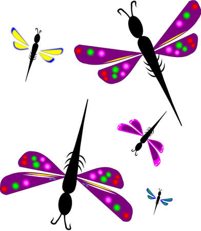 creative arts: dragonflies on white abstract