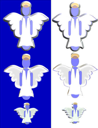 patronize: 3d angels on blue and white