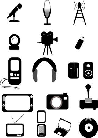 phone icon: media icons on white