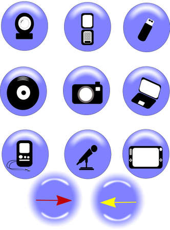 instant messaging: icons on blue backgrounds with highlights Stock Photo