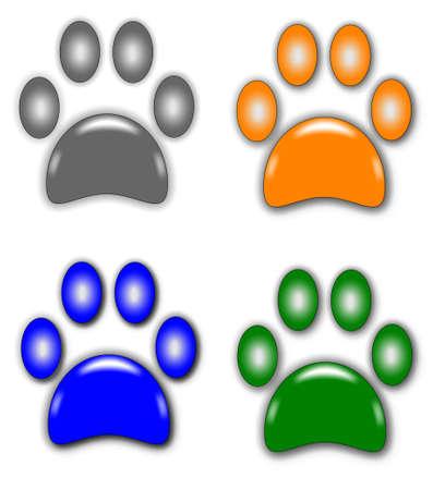 Pfotenabdrücke in verschiedenen Farben Standard-Bild - 9823554