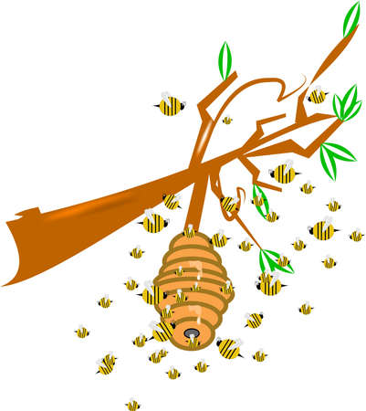 bee swarm: hive on branch with bee swarm and honey drips cartoon