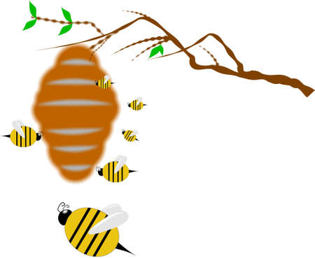 bee hive on branch  Ilustracja