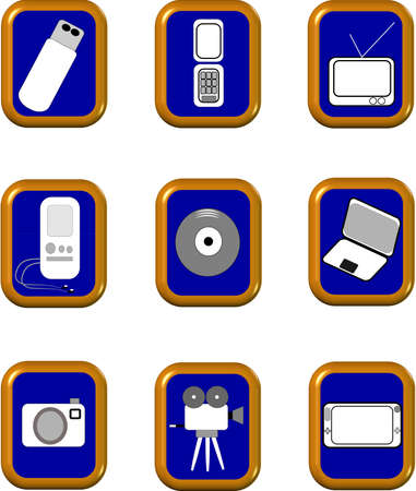 kids learning tools of today icons Illustration