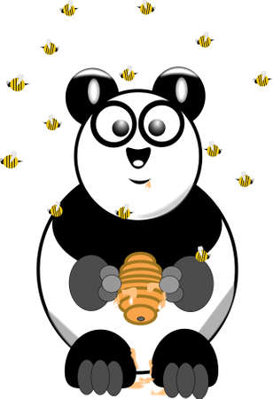 panda with bee hive and swarm of bees