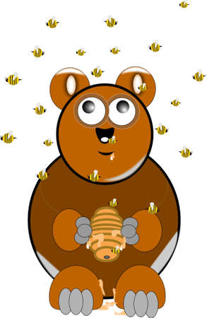 slobber: brown brown bear with beehive and swarm of bees overhead