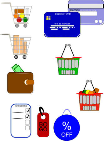 bogo: grocery and retail and wholesale elements  Illustration
