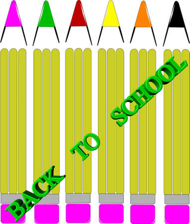 back to school pencil group in 3d Vector