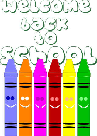 square headed crayons on white concept for back to school Vector