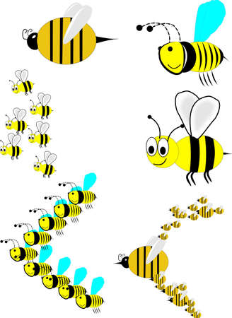 swarm of bees in attack formation with stingers in front Vector