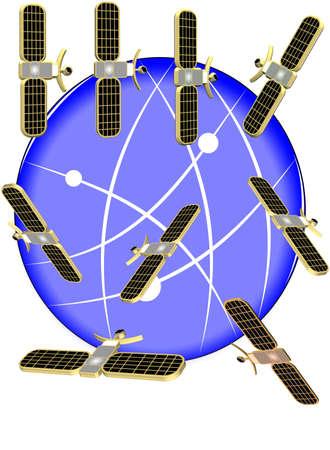 3d satellites circling the globe on white