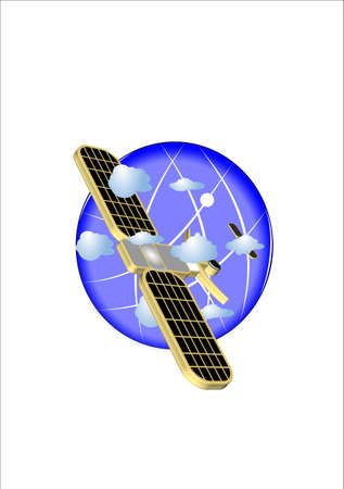 maneuverable: large satellite over earth in clouds