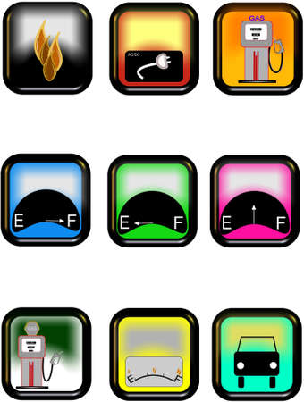 rectangular fuel related  icons Vector