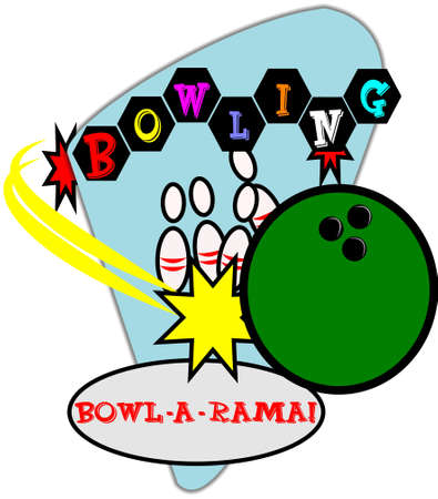 retro bowling illustration Vector
