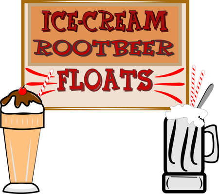 floats: retro root beer float illustration