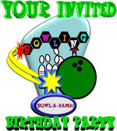 retro style bowling birthday party invite Stock Vector - 9930338