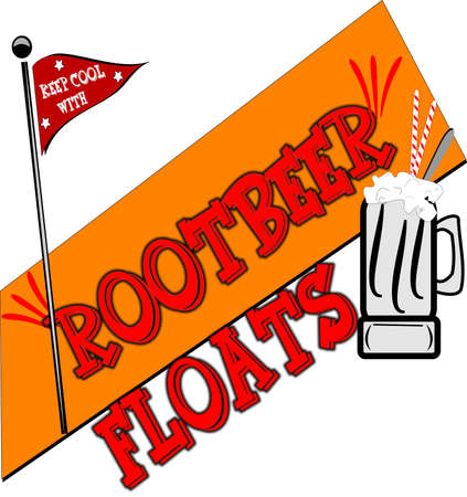 signage: rootbeer floats background vector