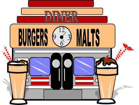 50s: MALT SHOP ON WHITE VECTOR