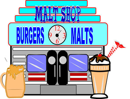 retro malt shop illustration on white Vector