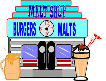 retro malt shop illustration on white 向量圖像