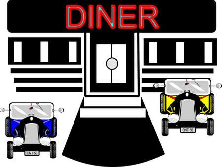 diner with hot rod cars parked  Stock Vector - 9930365